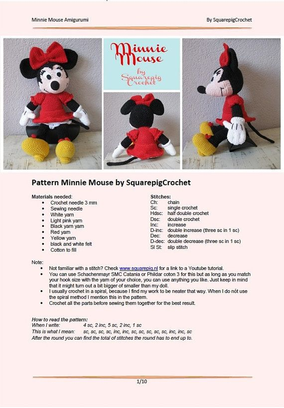 Minnie mouse crochet pattern, about 14 inches tall | Crochet round ...