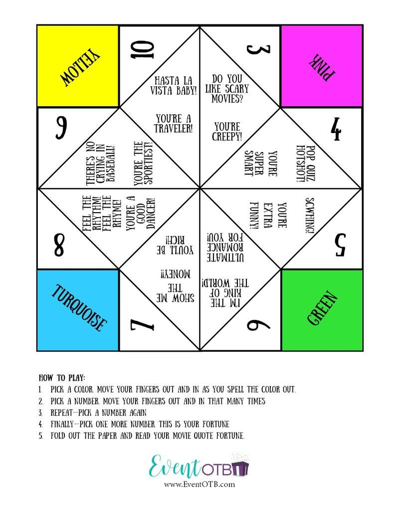 Paper Fortune Teller Ideas Funny : paper, fortune, teller, ideas, funny, Theme, Party, Items, Digital, Downloads, Party,, Packs,, Movie, Themed