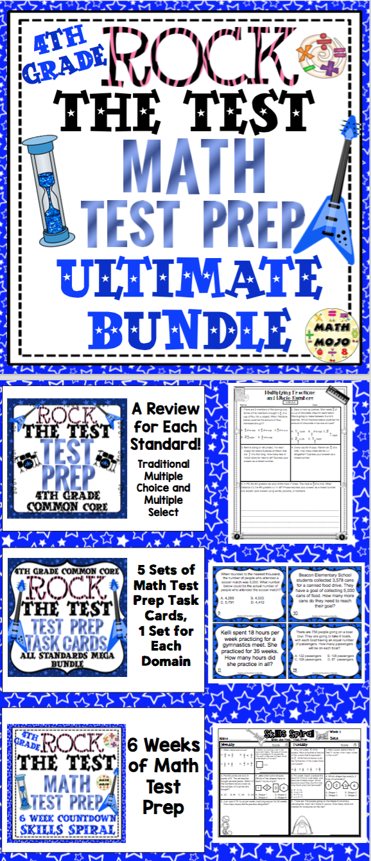 Math Test Prep Rock the Test - 4th Grade Ultimate Bundle | Math test ...