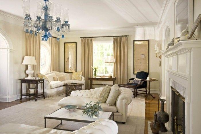wohnideen wohnzimmer leuchter beige gardinen weiße wände - gardinen wohnzimmer beige