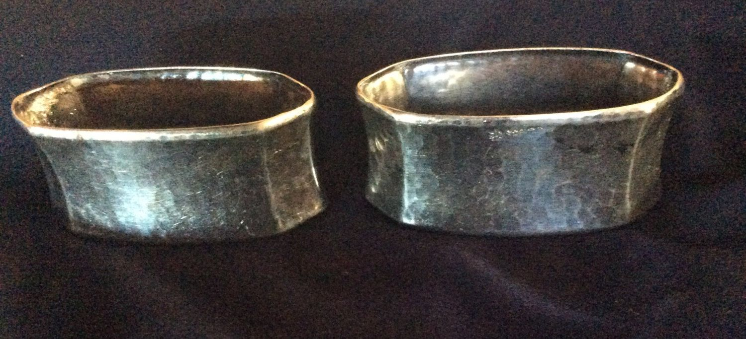 Pair 835 German Silver Art And Crafts Hammered Napkin Rings Serviette Holders By Hillcountrysilvergal On Etsy