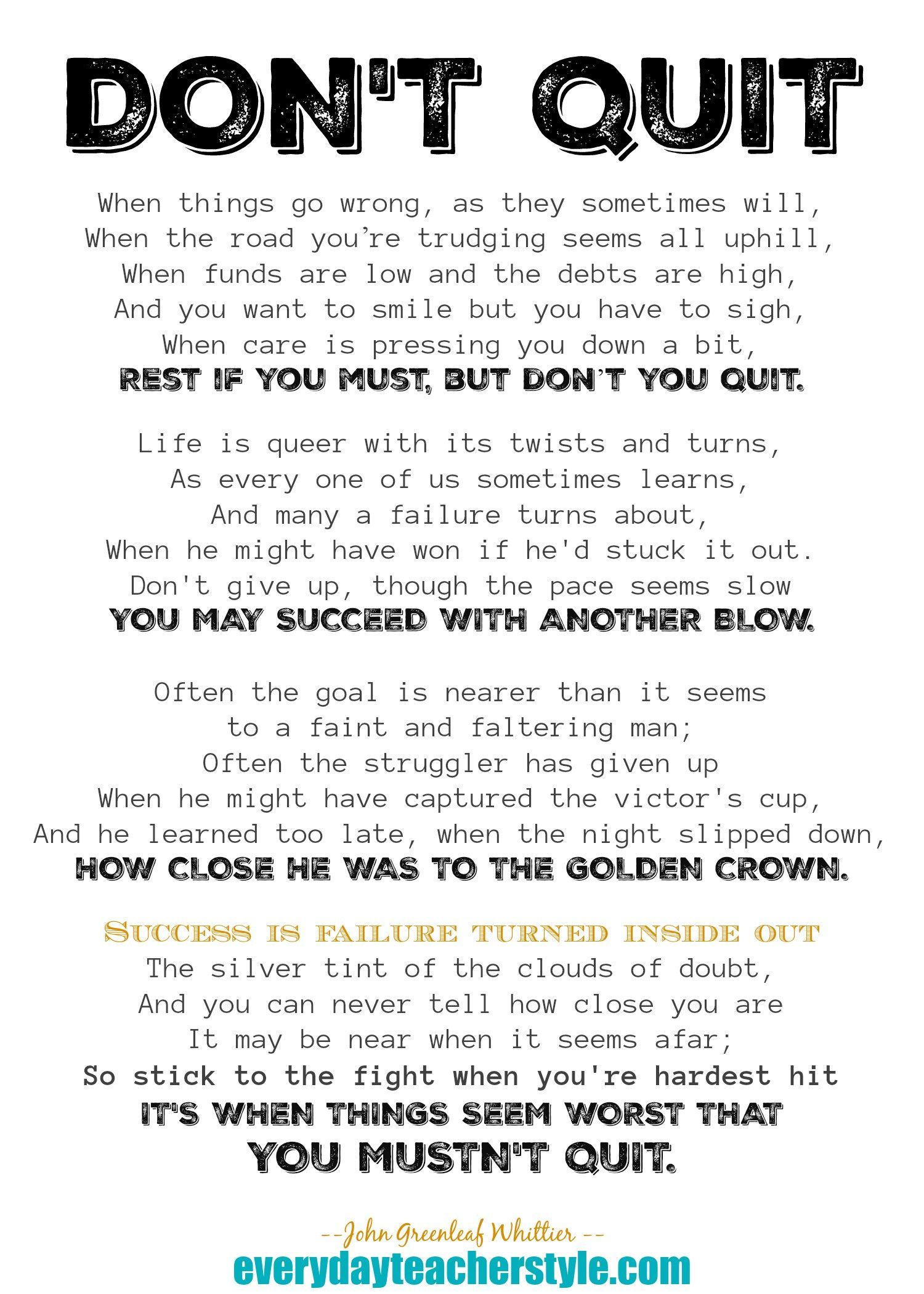 Poem About Never Giving Up