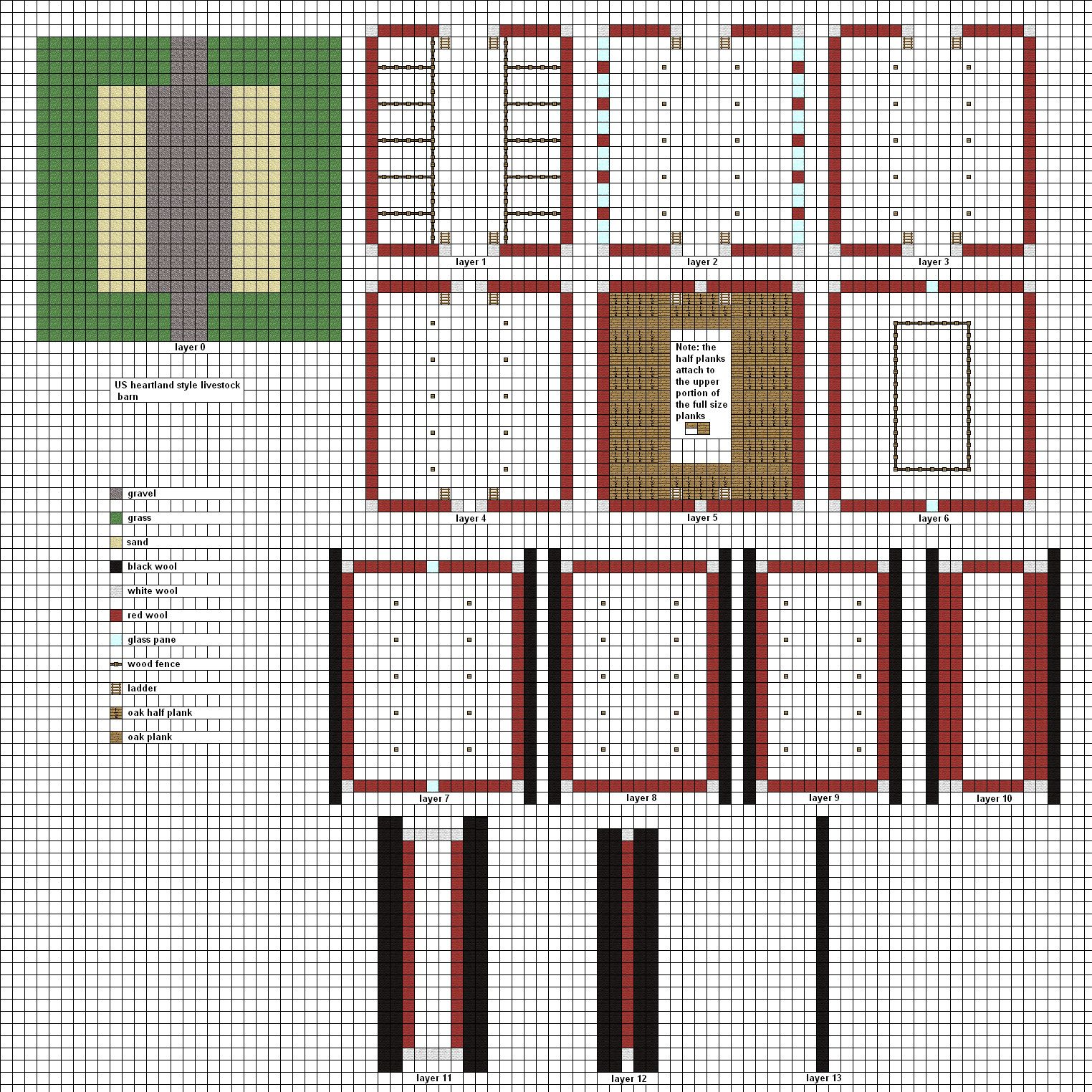 Minecraft livestock barn by on for Stable blueprints