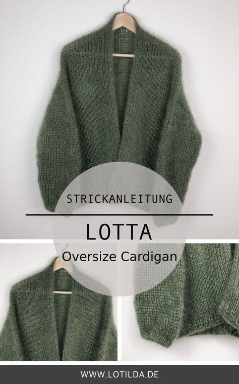 Photo of Strickanleitung LOTTA Oversize Cardigan – Strickjacke mit Halsblende • LOTILDA