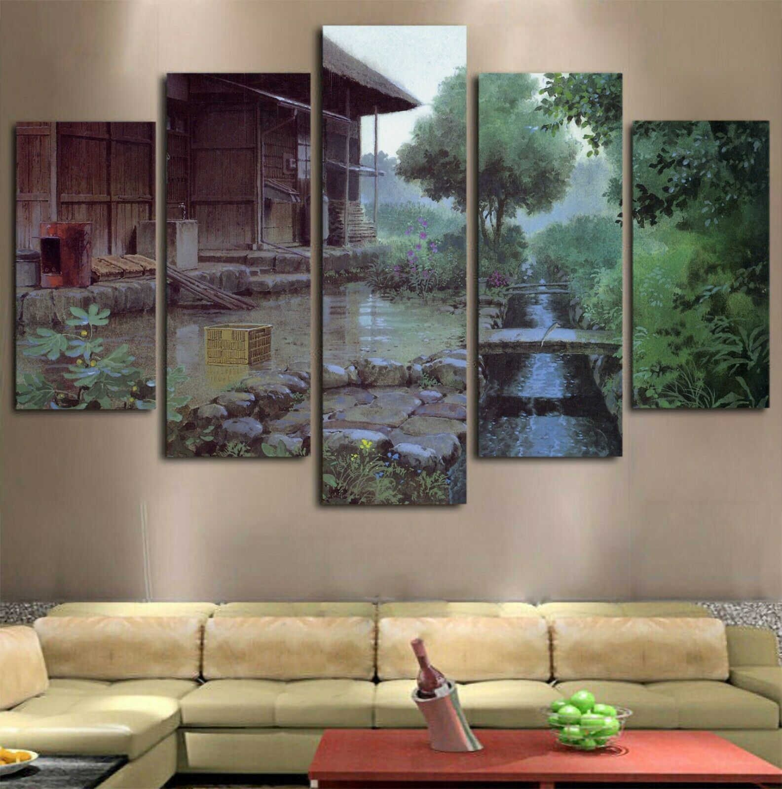 5pcs Ghibli Studio Totoro House Modern Art Canvas Wall Art Home Decor Framed Ebay Modern Canvas Art Wall Canvas Modern Art Pictures