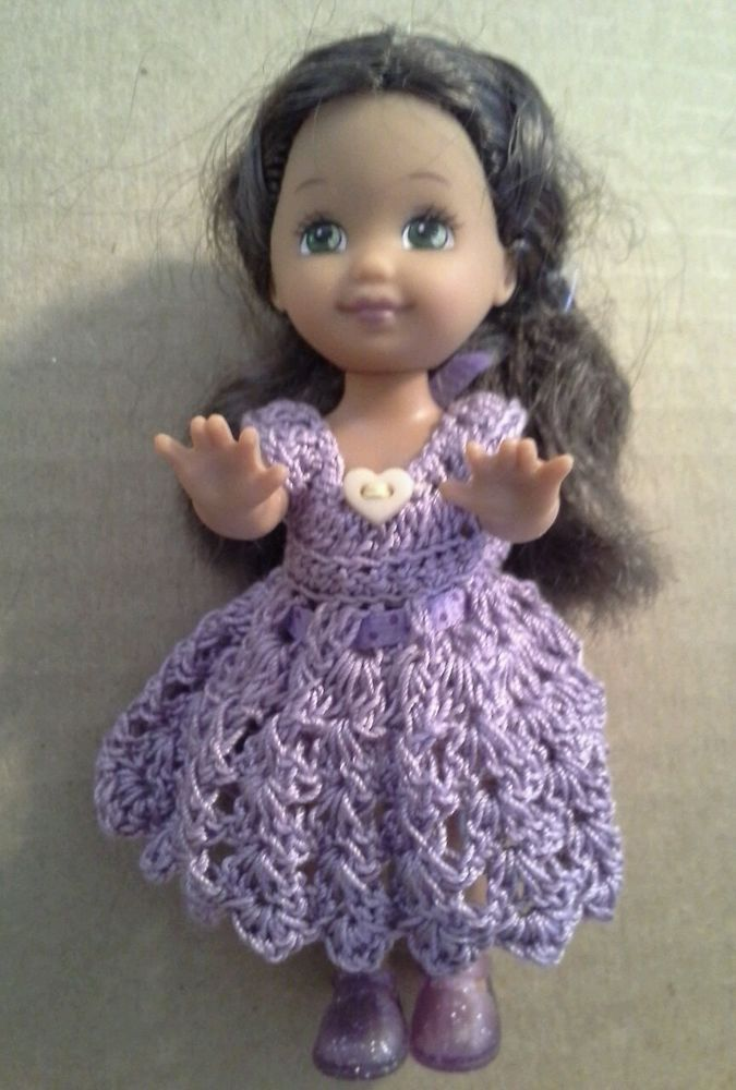 OOAK Kellys friend is dressed in a lavender crochet dress n matching & shoes  #DollswithClothingAccessories