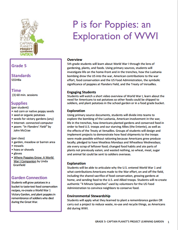 Fifth grade WW1 lesson Full lesson at http – Gardening Lesson Plans