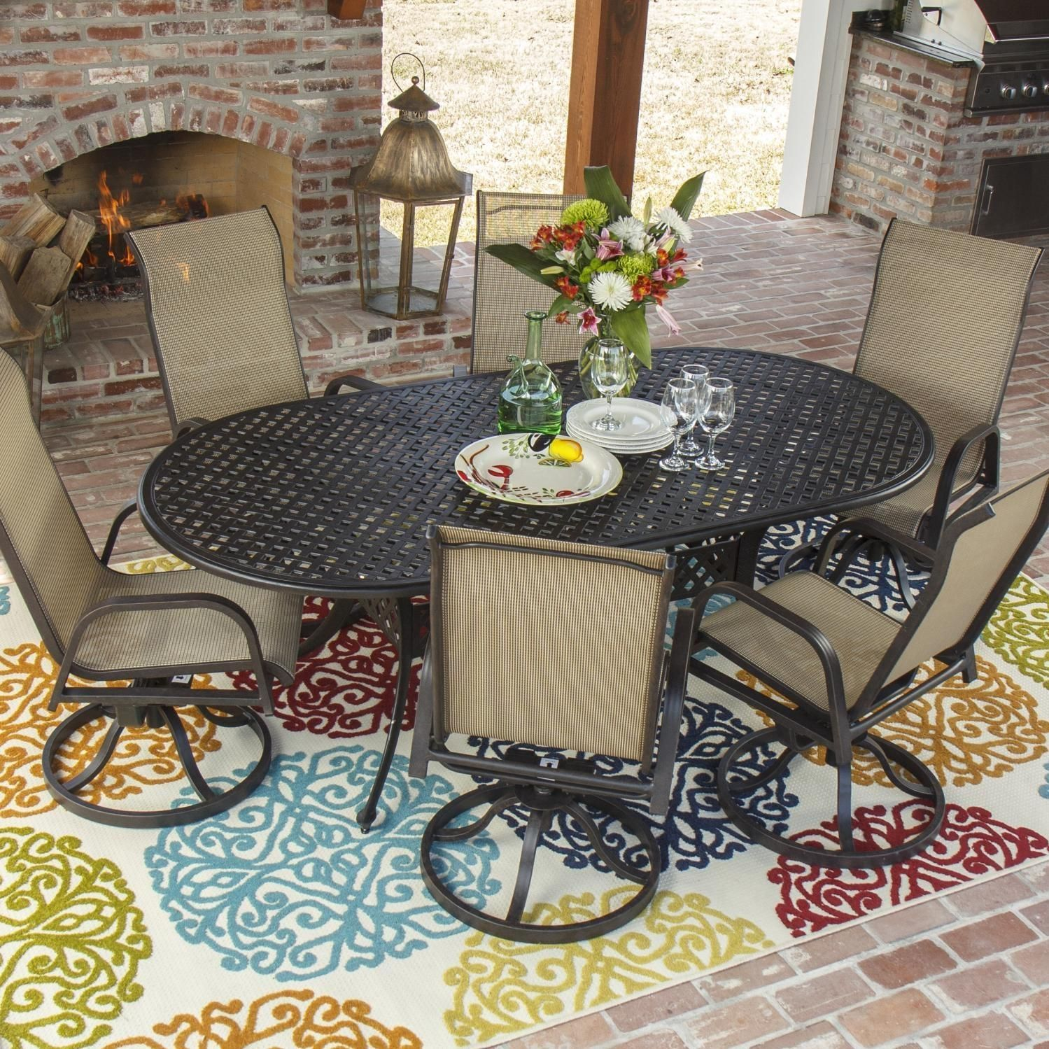 Madison Bay 7 Piece Sling Patio Dining Set With Cast Aluminum Table