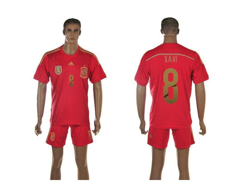 Spain Home 2014 The World Cup Xavi Hernandez 8# Red Football Shirt prices USD $19.50 #cheapjerseys #sportsjerseys #popular jerseys #NFL #MLB #NBA