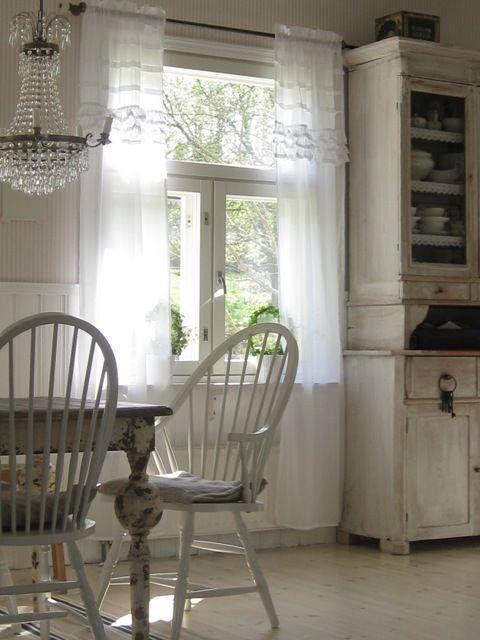 Pin von Inga St auf white and shabby Pinterest - fenster gardinen küche