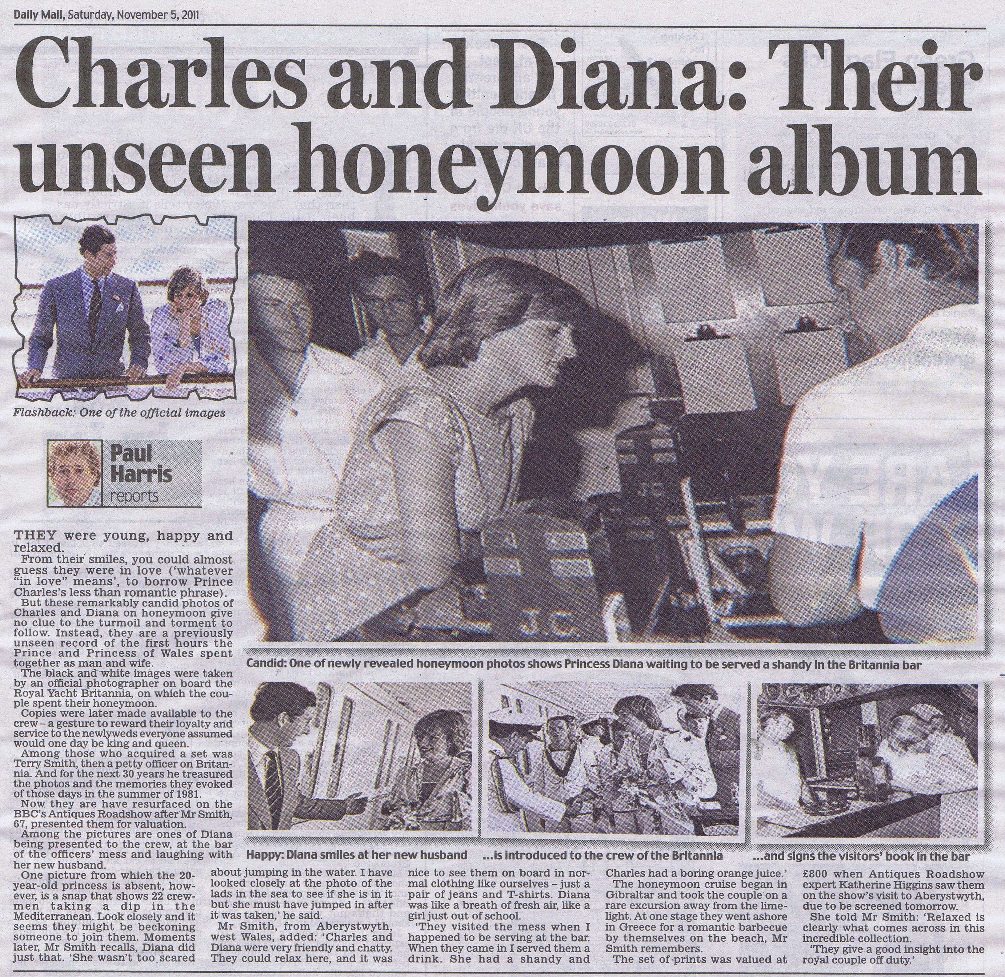 August, 1981 Princess Diana on her honeymoon aboard the