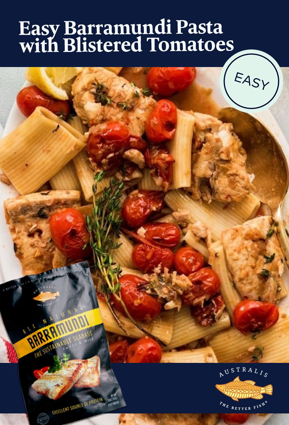 Easy Fish Pasta with Blistered Tomatoes | Australis Barramundi