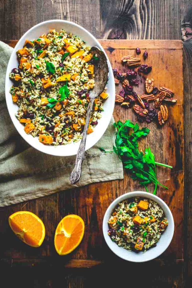 Brown Rice And Sweet Potato Salad Side Dish Weeknight Organic For All Thanksgiving Healthy Seasonal Recipes