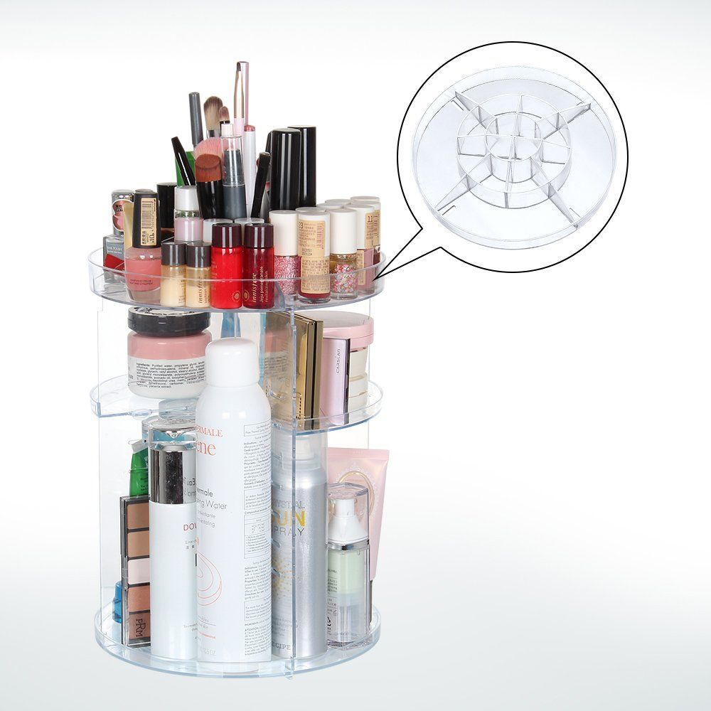 Acrylic Makeup Organizer, 360 Degree Rotating Large Capacity DIY Countertop  Cosmetic Storage, Fits For