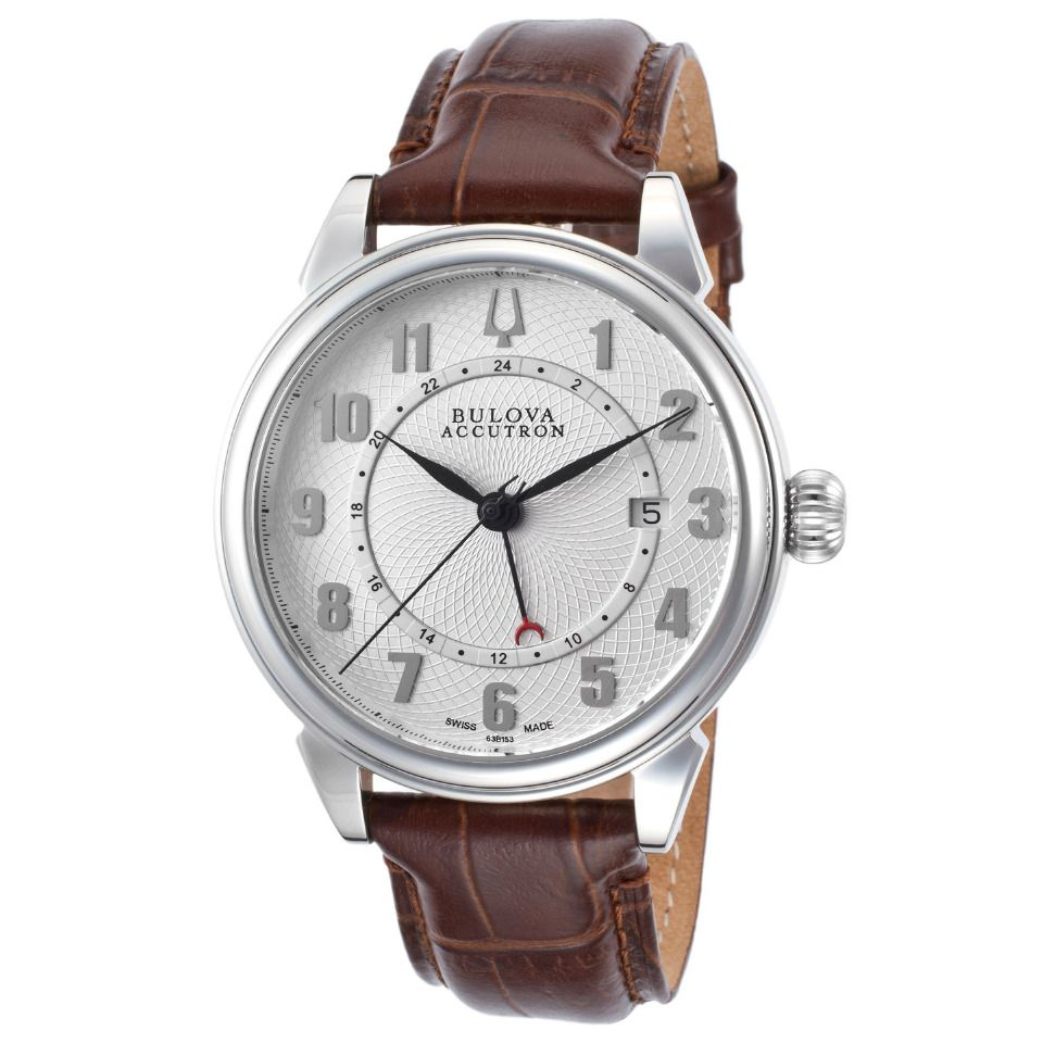 Accutron by bulova mens gemini watch in silver and brown
