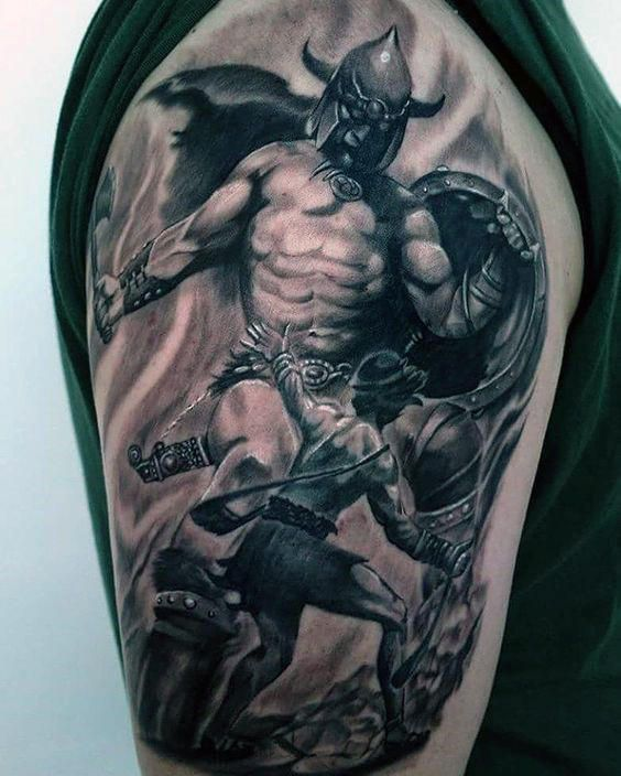 900a0fcab 30 David And Goliath Tattoo Designs For Men - Manly Ideas | David ...