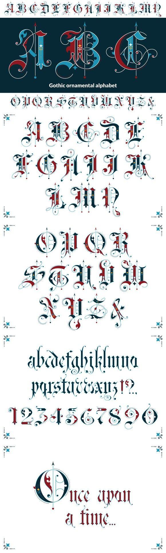 Gothic ornamental alphabet