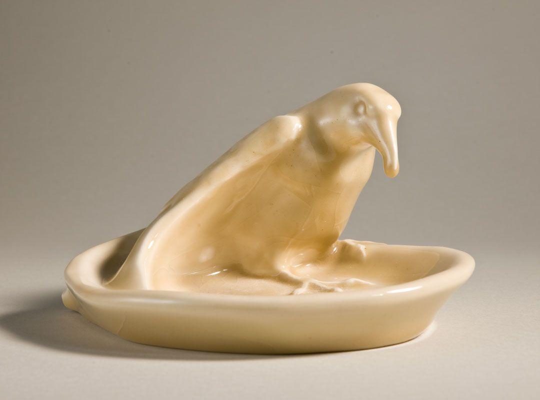 Ashtray, c. 1965. Rook (raven) design, glazed white clay; Rookwood ...