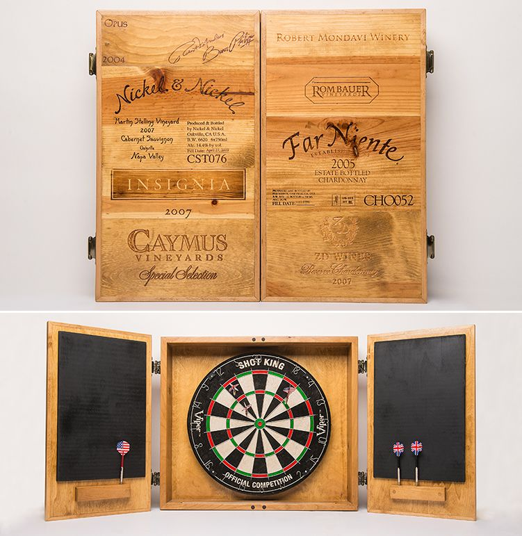Dartboard Cabinet Made With Recycled Wine Crates By Alpine Wine