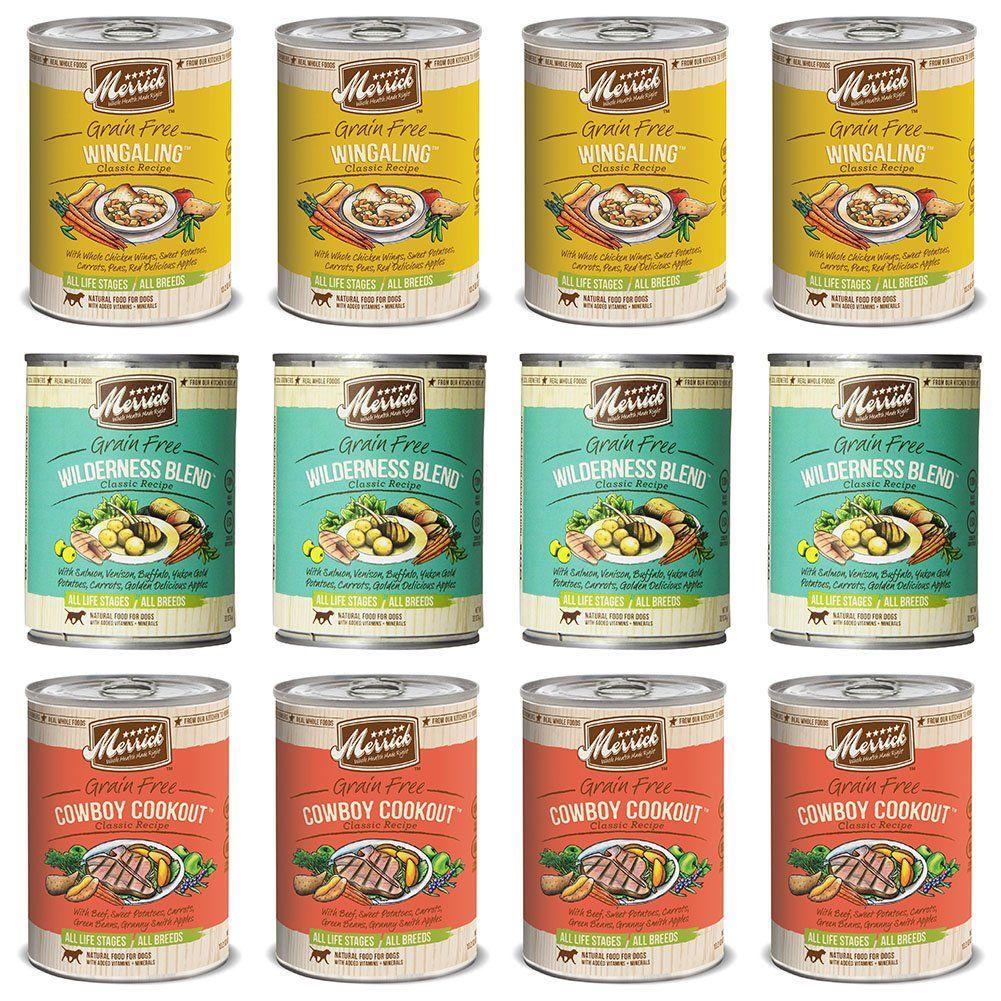 Merrick classic grainfree recipe canned dog food variety