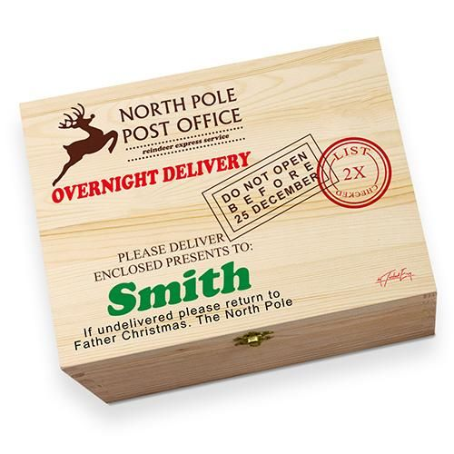 personalised north pole post office printed christmas eve wooden gift box - Post Office Open On Christmas Eve