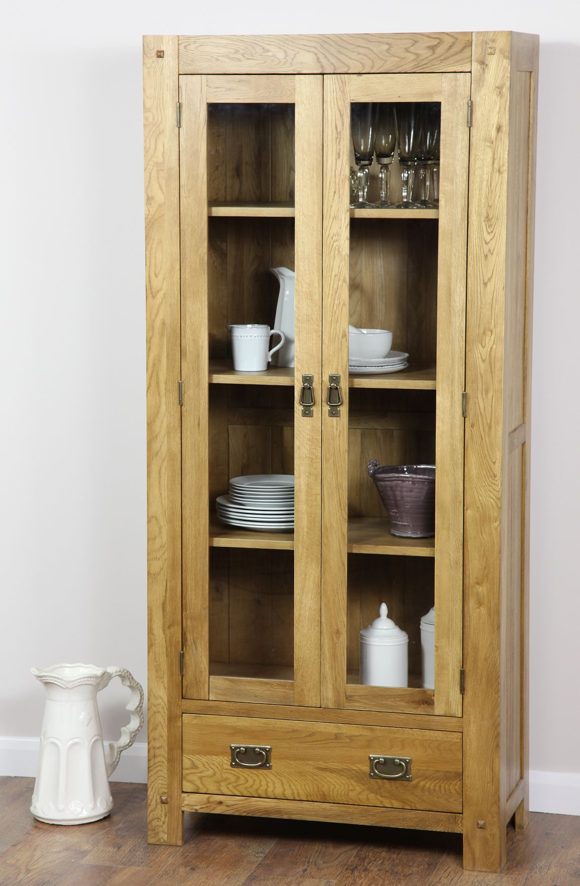 Quercus Solid Oak Furniture Range Oak Cabinet | Oak Display Cabinet ...