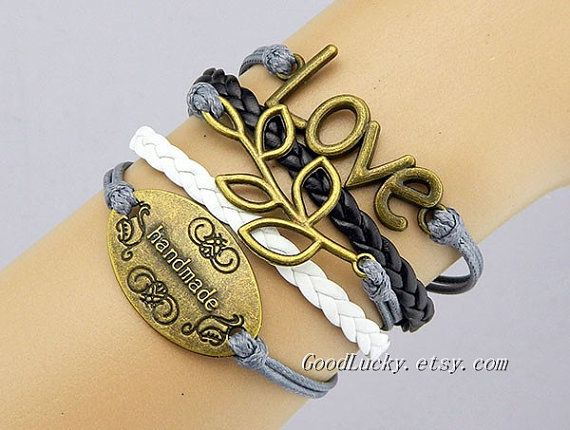 Braceletleather braceletLovebranchHandmade by charmjewelrybracelet, $10.99