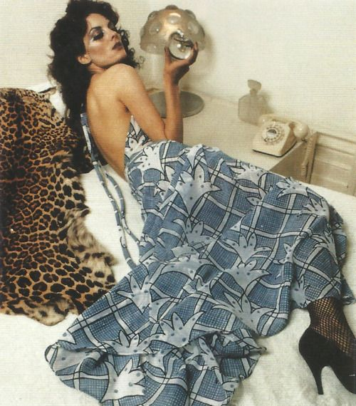 Gala Mitchell modelling Ossie Clark