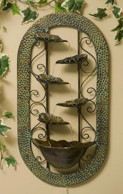 Wall Mounted Leaf Bowl Water Feature Fountain Cascade Modern