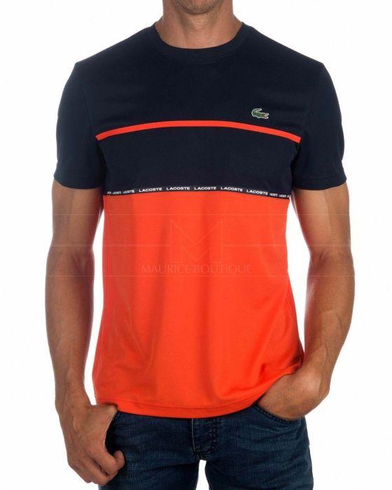 Camiseta Lacoste Sport - Azul Marino   Naranja   Cute things for him ... 1a3eccfda6
