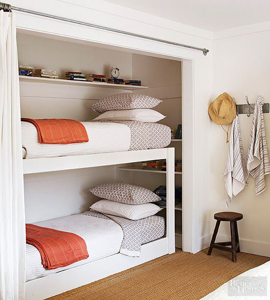 Best Cozy Country Ranch Home Renovation Bed In Closet 400 x 300