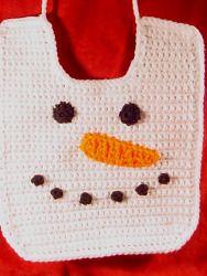 Crocheted Snowman Baby Bib | AllFreeCrochet.com