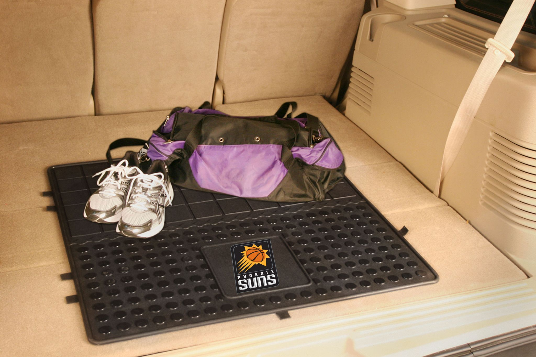 "NBA - Phoenix Suns Heavy Duty Vinyl Cargo Mat - Protect your vehicle's flooring and your cargo. Display your team pride with cargo mats by FANMATS. 100% heavy duty vinyl construction with non-skid backing ensures a rugged and safe product. Universal fit makes it ideal for cars, trucks, SUVs, and RVs. The officially licensed design in true team colors are permanently molded for longevity.FANMATS Series: CARGOVINTeam Series: NBA - Phoenix SunsProduct Dimensions: 31""x31""Shipping Dimensions…"