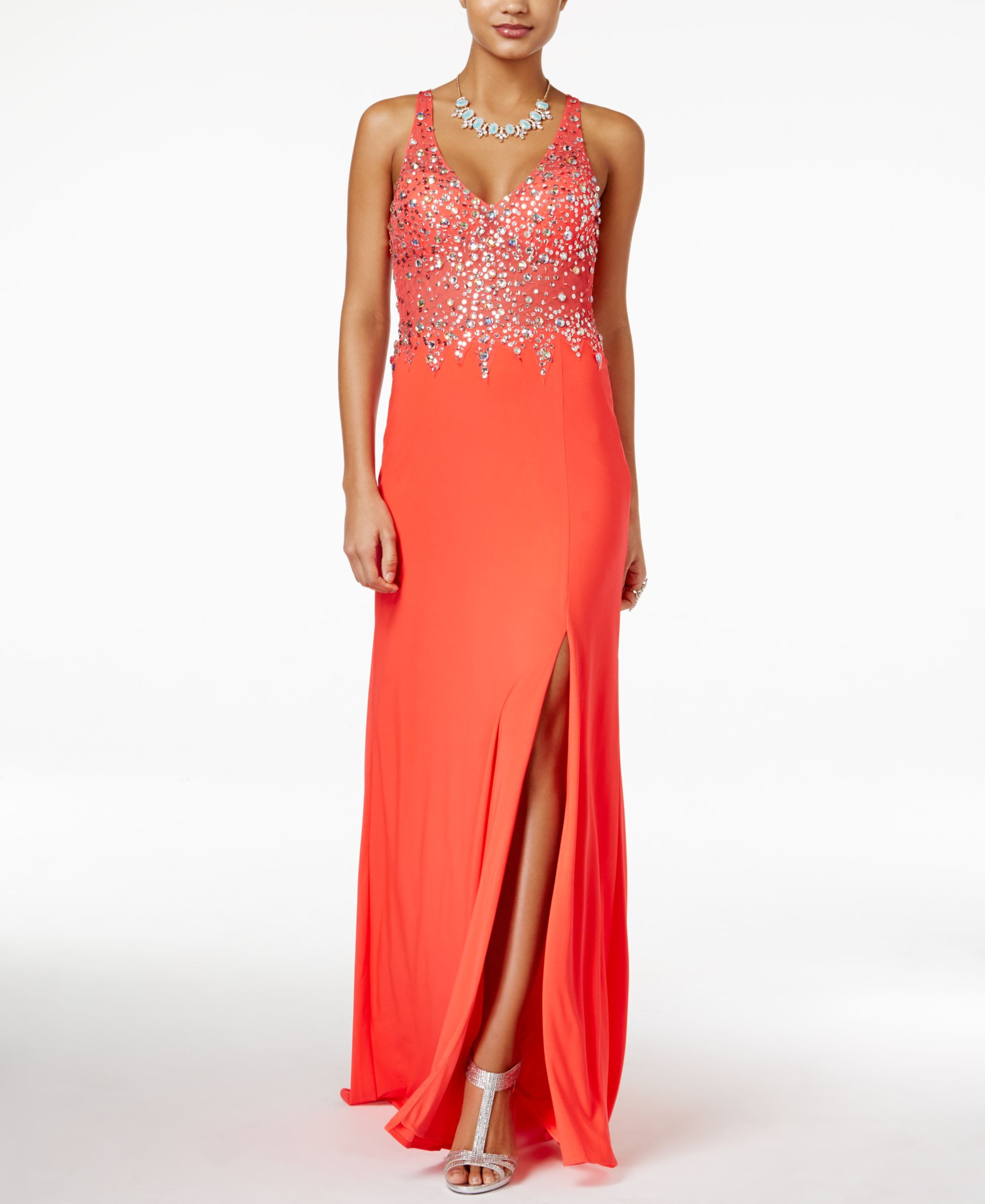 Blondie nites juniorsu embellished frontslit gown products