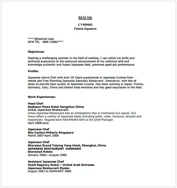 Commis Chef Resume Template , Hotel and Restaurant Management