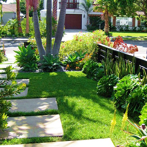 Concrete Front Yard Landscaping: Concrete Pad, Lawn And Gardens