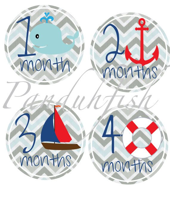 Nautical themed monthly stickers by Panduhfish on Etsy, $8.50