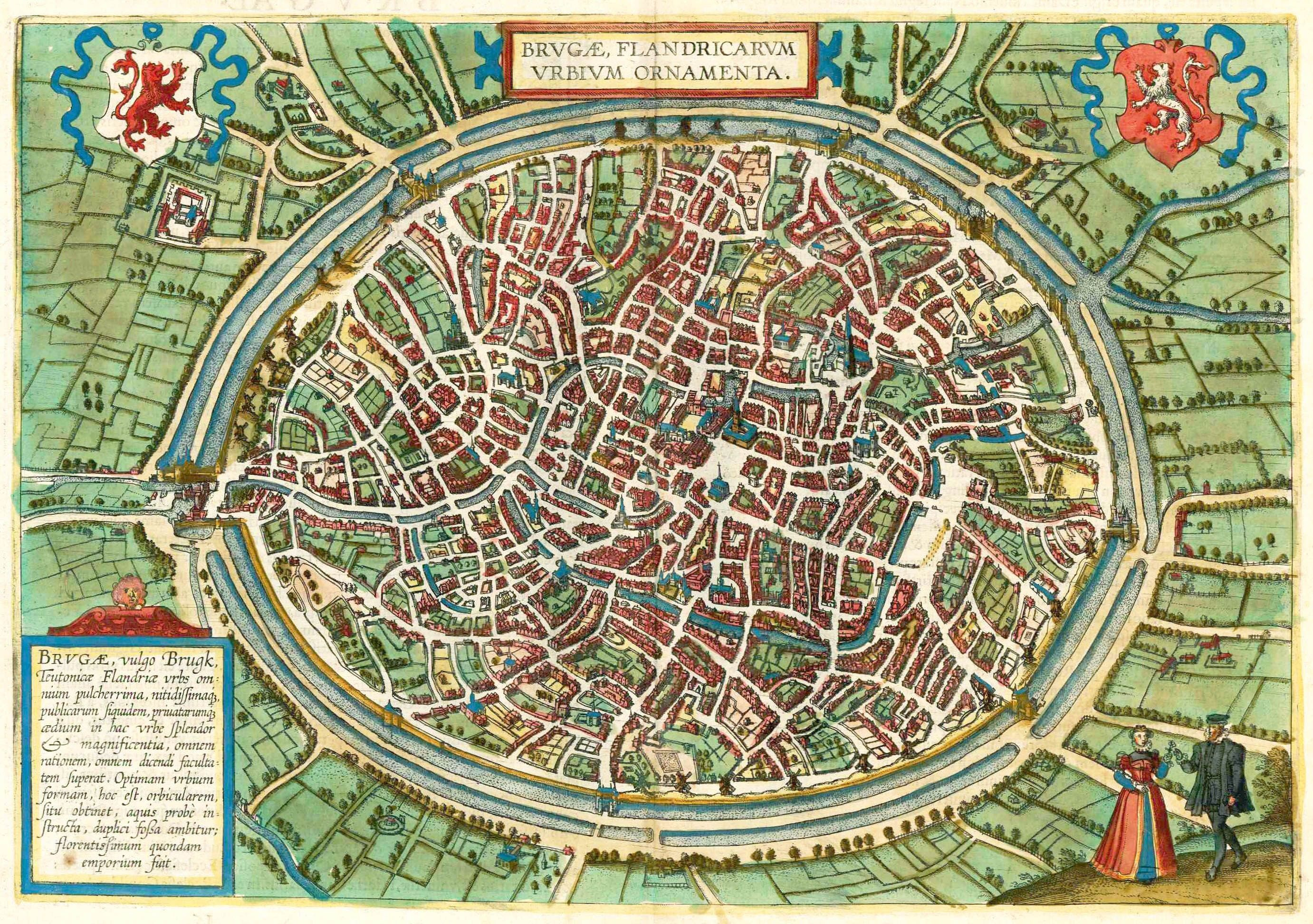 Antique map Birdseye plan of Brugge Bruges by Braun and