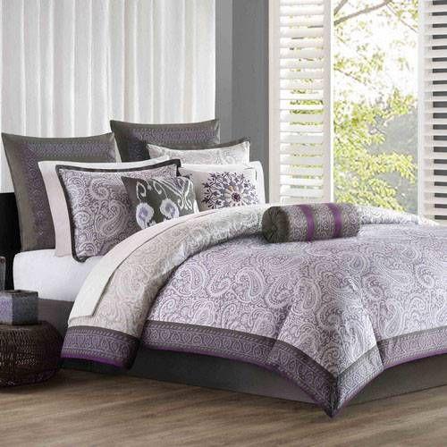 Grey and purple bedding