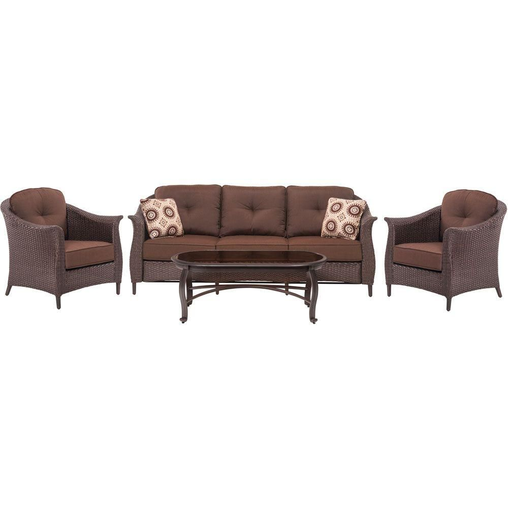 Hanover Gramercy 4 Piece All Weather Wicker Patio Seating Set With Brown Cushions Patio Seating Sets Conversation