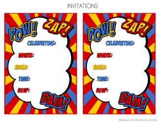 photograph regarding Printable Superhero Invitations named Superhero Occasion Printables Superhero get together Superhero