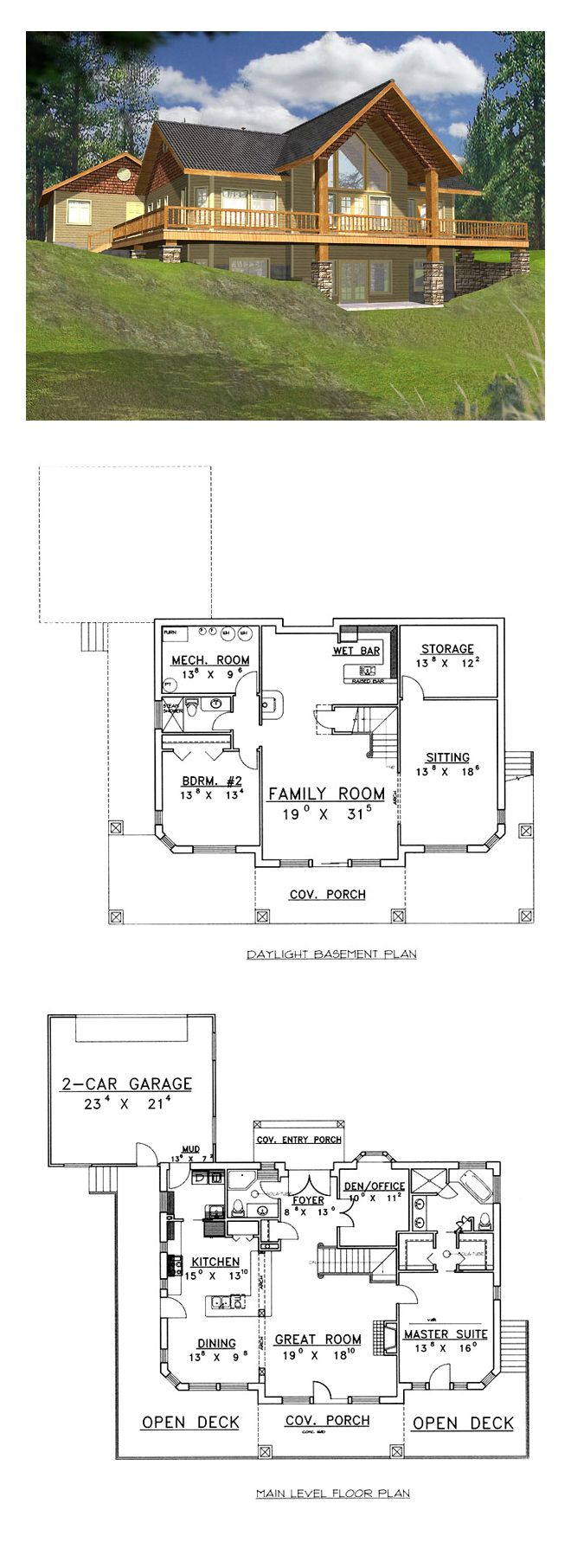 log cabin style cool house plan id chp 33904 total living area