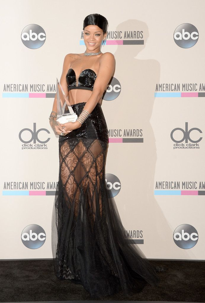 d6fa711ece28e7 Rihanna s 2013 American Music Awards Jean Paul Gaultier Spring 2013 Couture  Black Beaded Bralet And Sheer Skirt