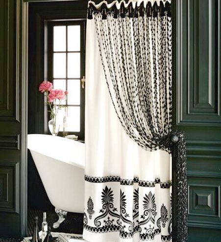 Elegant Shower Curtains White And Black Black And White Shower Curtain Home Architecture Black Shower Curtains Elegant Shower Curtains Shower Curtain Decor