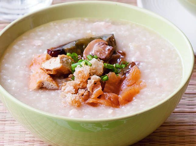 Inspired by the Chinese congee, a variety of tasty toppings are mixed in for added taste and texture.