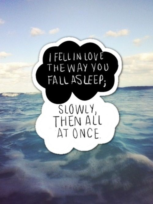 I Fell In Love The Way You Fall Asleep Slowly Then All At Once