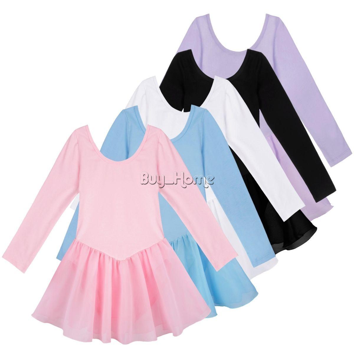 Kid Girl Ballet Dance Tutu Long Sleeve Dress Gymnastics Leotard Outfit Dancewear