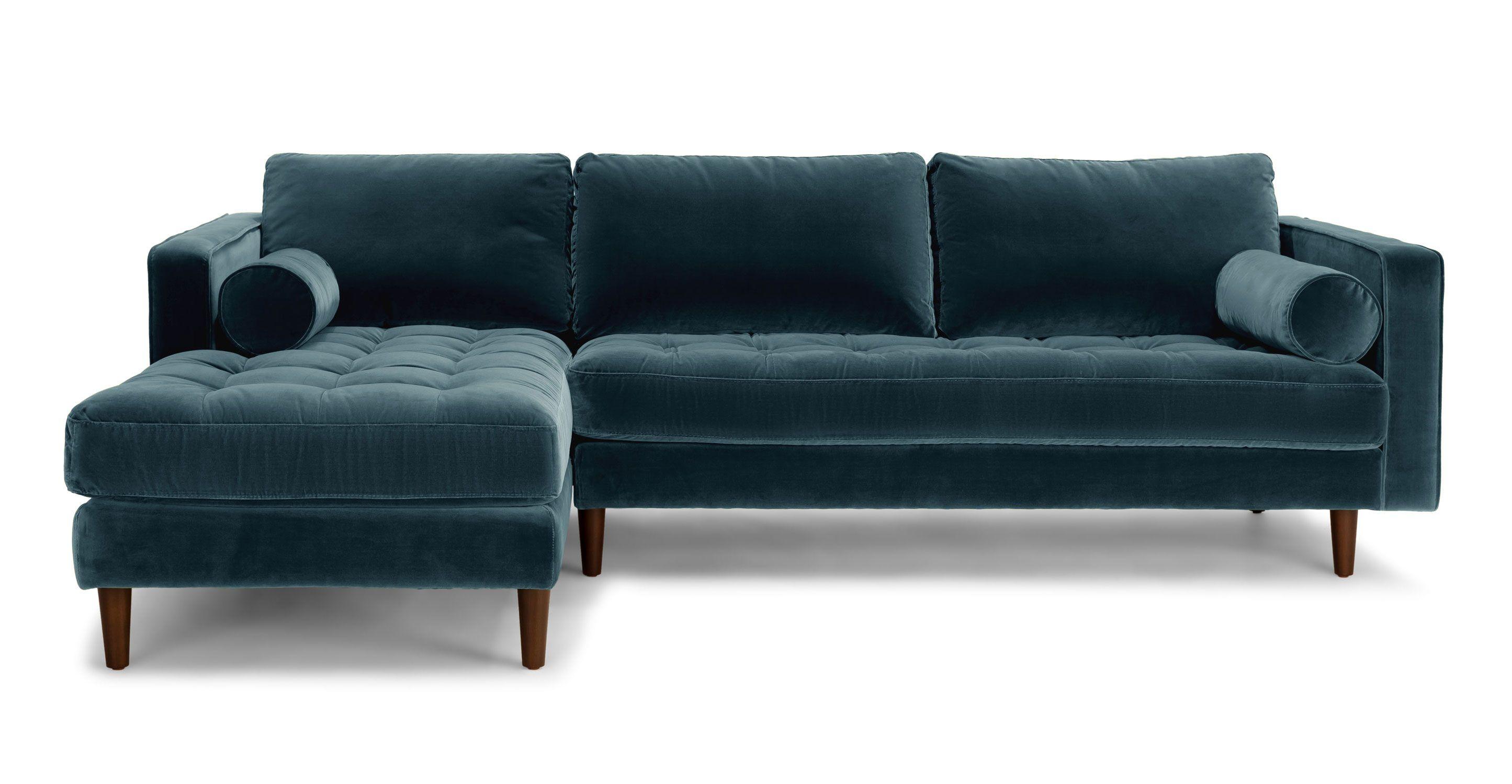 Velvet Mid Century Modern Sectional Upholstered