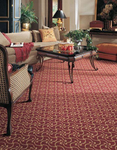 Red And Cream Patterned Carpet In Living Room Living Room Carpet Patterned Carpet Room Carpet