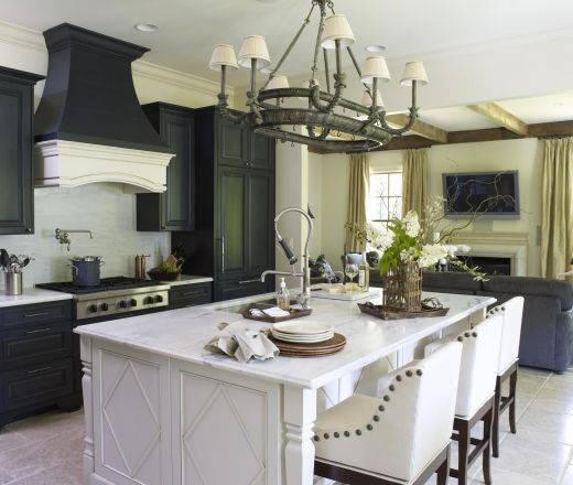 Black And Cream Kitchen Accessories: Transitional Island Style Cream Kitchen, Black Cabinets